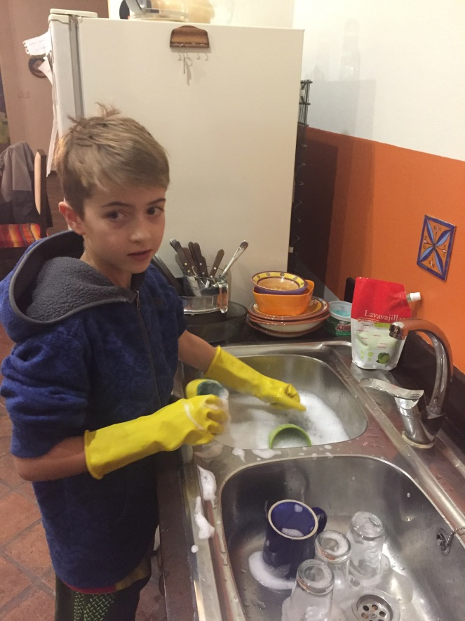 Jasper doing dishes